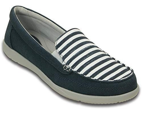 Crocs Walu Ii Stripes Loafer Women Navy- White Envios Gratis