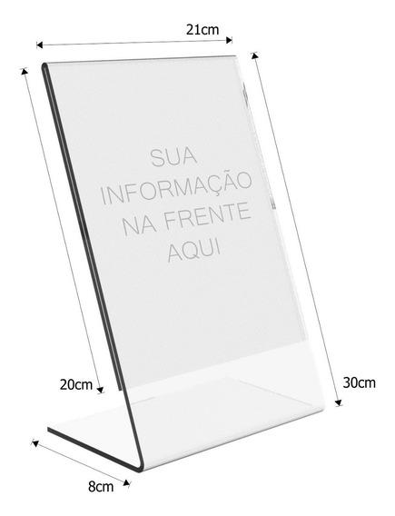 Display Expositor Em L Tamanho A4 Acrílico Ps Cristal - 5un.