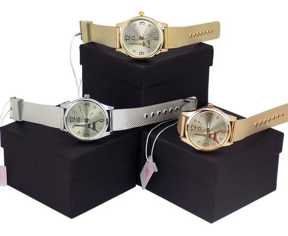 Kit 3 Relógios Femininos Linha Paris! 12 X Sem Juros!