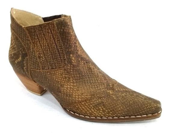 Zapato Mujer Bota Botineta Cuero Vacuno Reptil /bronce