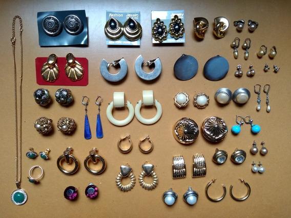 Aros Antiguos Y Modernos Metal-perlas Clip Pasador Dorados