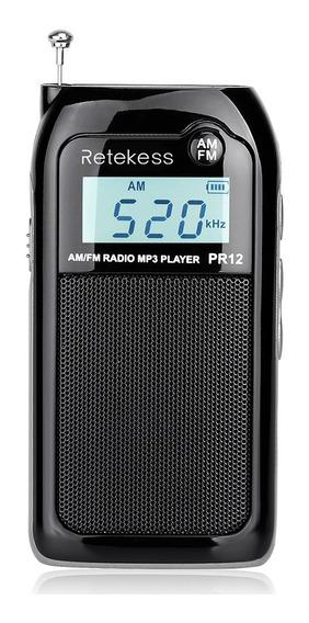 Retekess Pr12 Portátil Am Fm Rádio Estéreo De Bolso Mp3