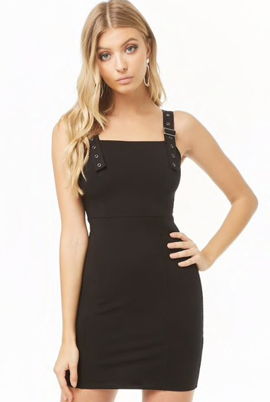 Vestido Negro Entallado Talla M Forever 21 Original Svoz