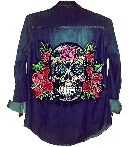 Camisa Jean Azul Estampada Diseño Calavera Mexicana Pintada