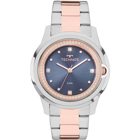 Relógio Technos Prateado E Rosé Feminino Elegance Crystal 20
