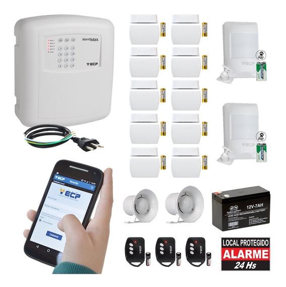 Kit Alarme Residencial Gsm Ecp Chip Sem Fio 12 Sensor Max 4