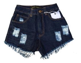 Shorts De Cós Alto Jeans Feminino Cintura Alta Lady Rock