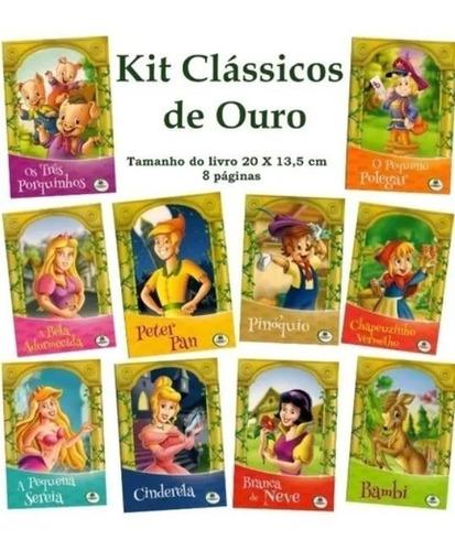 Imagem 1 de 8 de Kit Livro Infantil - Clássicos De Ouro - 10 Und