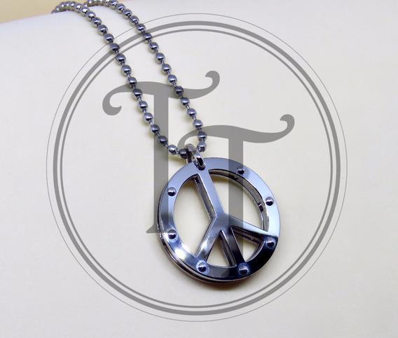 Collar Simbolo Paz En Acero Inoxidable-white Gold 18k