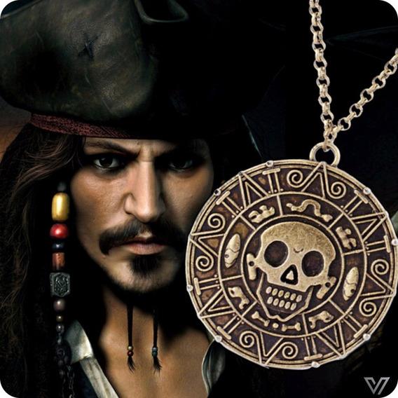 Colar Piratas Do Caribe Jack Sparrow Medalha Azteca Bronze