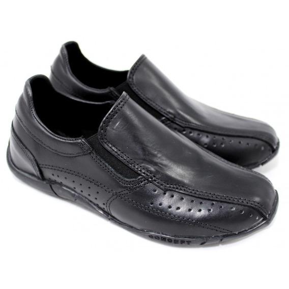 Zapato Nautico Mocasin Pancha Negro Con Elastico Niño Hombre Cocido