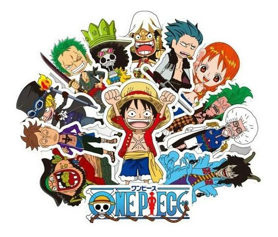 One Piece 48 Calcomanias Stickers D Pvc Contra Agua E Gratis