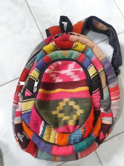 Mochila Amplia Artesanal Multicolor, Lana De Llama.