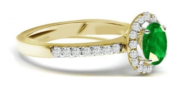 Anel Compromisso De Ouro 18k Diamantes E Esmeralda Natural