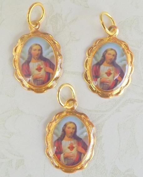 Kit 100 Medalhinhas Bem Casado Sagrado Coração