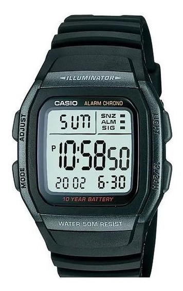 Relogio Casio W96 Timer Crono Alarme Luz Bat10anos Quadrado