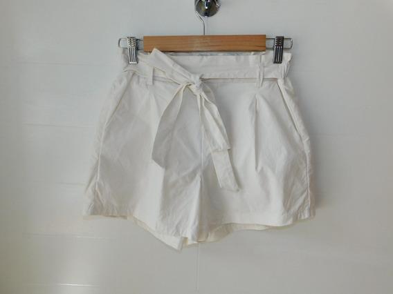 Short Bengalina Blanco Liso Lazo Bolsillo Mujer Mc