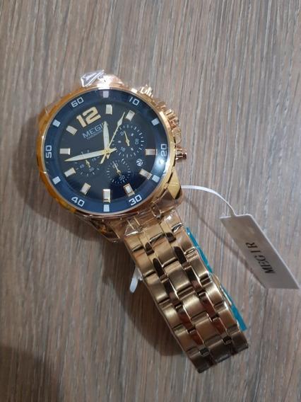 Relógio Megir Dourado Cronógrafo Funcional Dourado Original