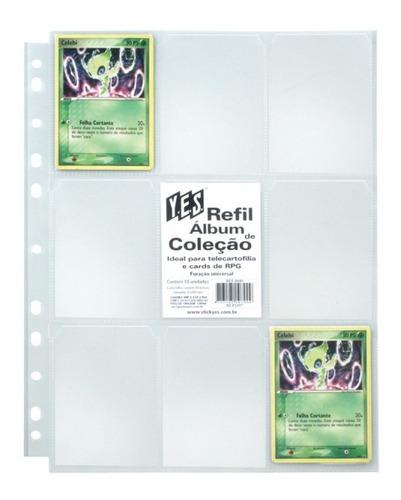10 Folhas Plásticas 9 Bolsos Yes Para Álbum Pokemon/magic