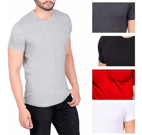 Camiseta Camisa Tshirt Basica Slim Fit Masculina Algodao