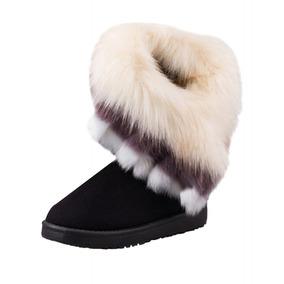 Mujeres Invierno Moda Nieve Botas Medio Imitación Zorro -se