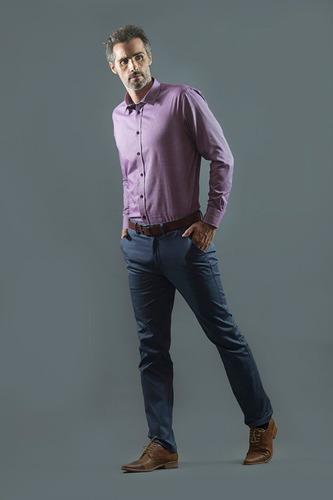 Camisa Polo Hombre Manga Larga Talles Grandes Elegant Lila