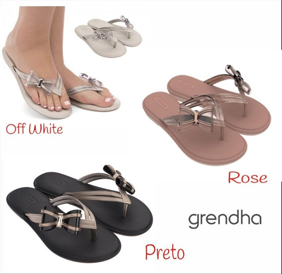 Chinelo Grendha - Laço Preto- Off White- Rose 17736