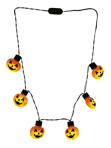 Collar Luces Halloween Focos Led De Calabaza En Collar