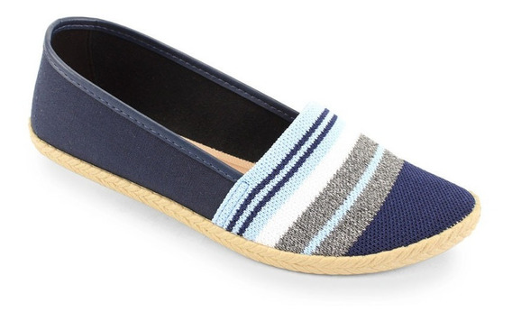 Sapatilha Moleca Lona Azul Marinho Jeans Listrado