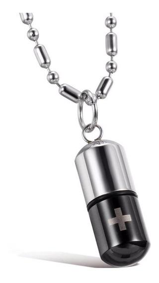 Colar Cordão Comprimido Capsula Porta Remédio Pílula Aço