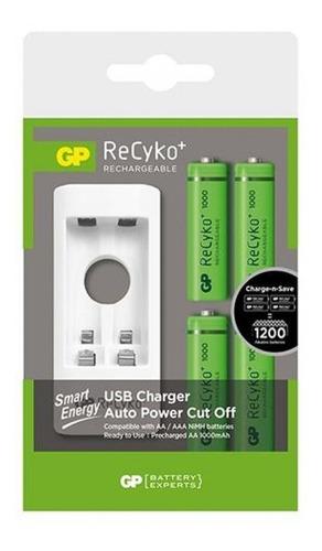 Cargador Gp Recyko Con 4 Baterias Recargables 2 Aa 2 Aaa