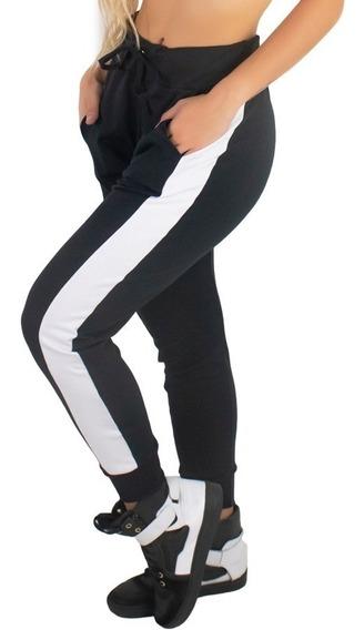Calça Ribana Moletom Listra Feminina Moda Cintura Alta