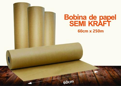 Papel Semi Kraft Pardo Rolo Bobina 60cm 9kg (250m)
