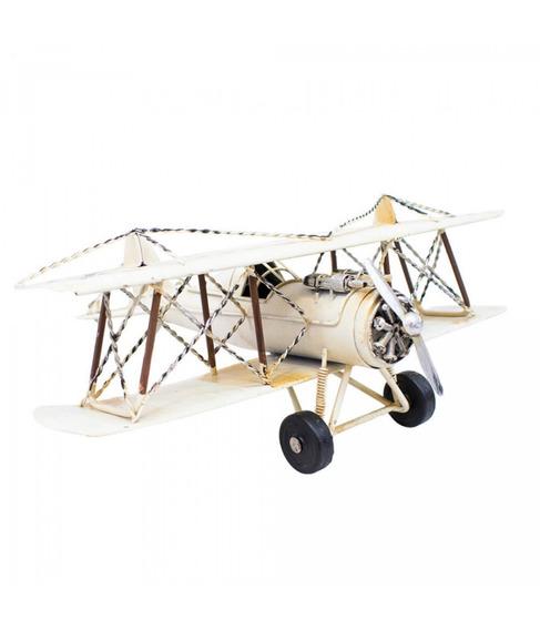Avião Branco De Hélice Miniatura 32cm Retrô - Vintage