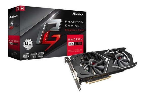 Placa de video AMD ASRock Radeon RX 500 Series RX 570 PHANTOM GXR RX570 8G OC OC Edition 8GB