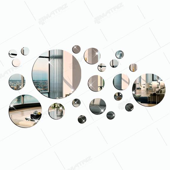 Kit Espelho Decorativo Acrílico Círculo 23 Peças Ref. 002