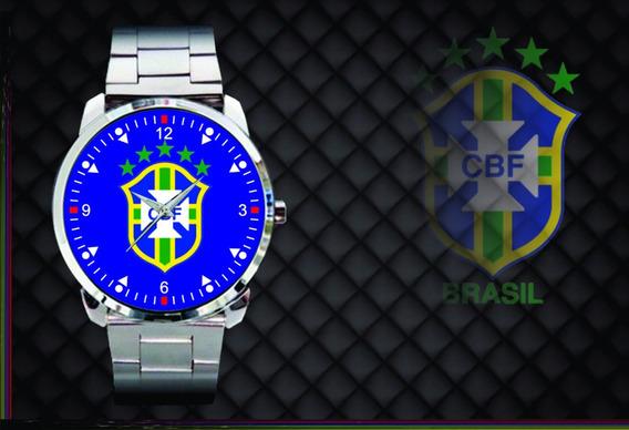 Relógio De Pulso Personalizado Cbf Brasil Copa 2018 Azul