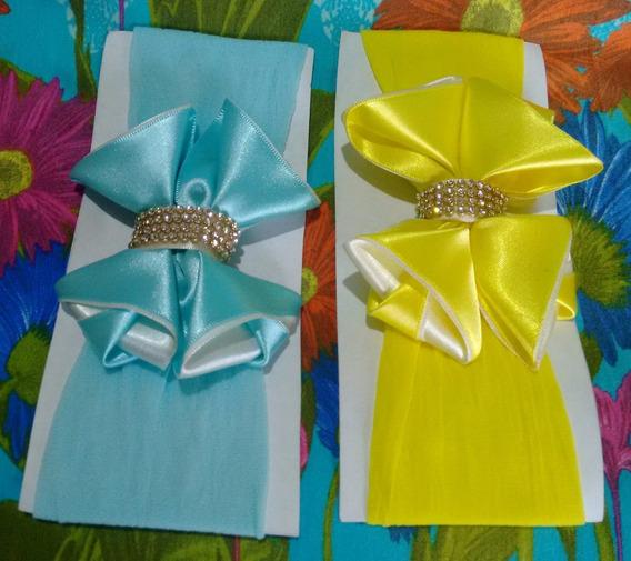 Meia De Seda Para Bebê: Laço De Luxo, Amarelo E Azul.