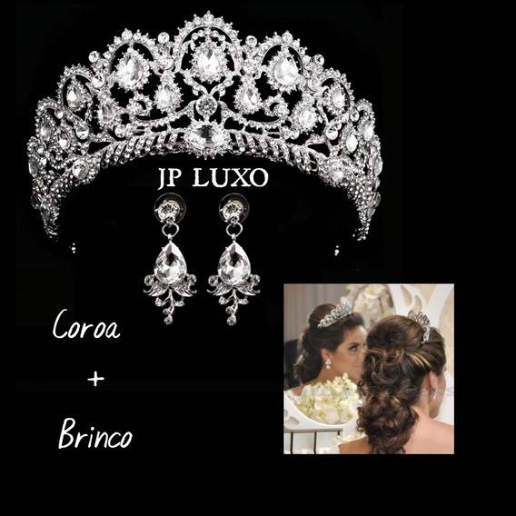 Acessório Noiva Coroa Tiara Colar Brincostrass Debutante Véu