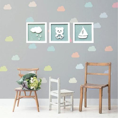 Imagem 1 de 7 de Trio Quadros Infantis Nuvem Panda Barco Alto Relevo