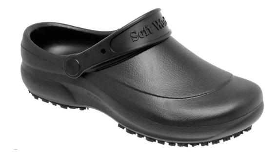 Zapato Zueco De Goma Anti Deslizante Negro - Mundo Trabajo