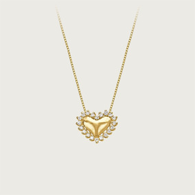 Gargantilha Coração Em Ouro 18k Com Diamantes