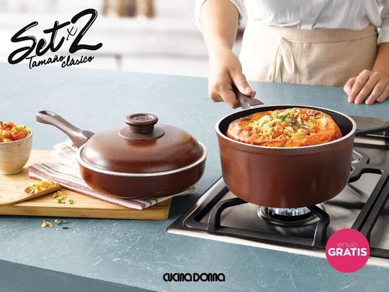 Olla Cacerola 20cm + Sarten 20cm Cucina Donna Set - Mendoza