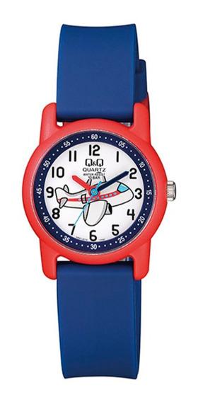 Relógio Masculino Infantil Azul E Vermelho Q&q Prova D