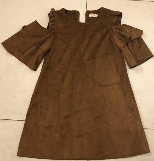 Vestido Marrón Zara Chicas Original - Casual Collection
