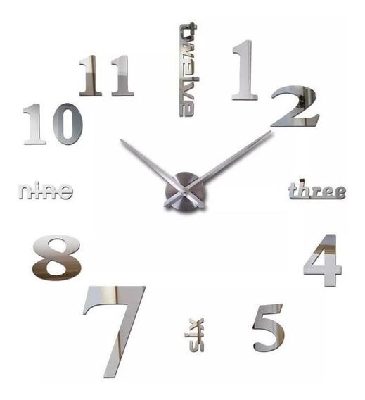 Reloj De Pared 3d Funcional 120 Cm Gigante Minimalista Moderno Acabado Espejo Decorativo Acrílico Adorno