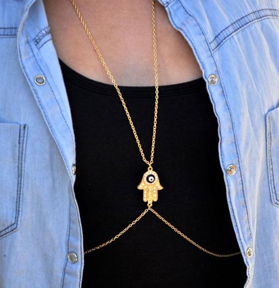 Colar Soutien Dourado Hamsa Acessório Body Chain Ju Uva
