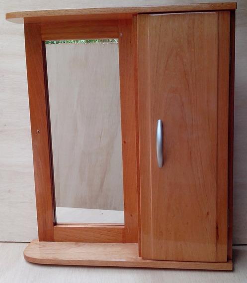 Armário Aéreo Com Espelho Para Banheiro Em Madeira Cedro