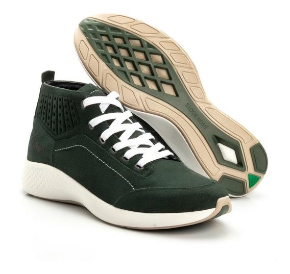 Tênis Masculino Cano Médio Couro Jhon Boots Original+ Brinde