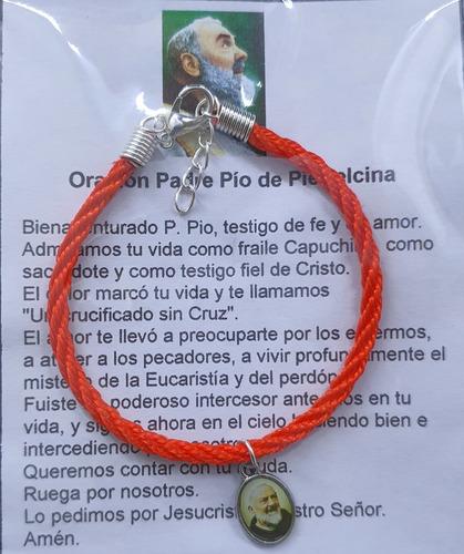 Imagen 1 de 1 de Pack 25 Pulsera Padre Pío, Cordón Trenzado, Hecha A Mano.